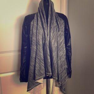 Faux Leather Motorcycle/Swing Sweatshirt Jacket